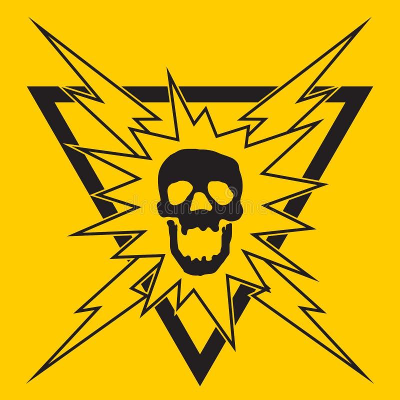 Elektrycznego szoka czaszki znak ostrzegawczy ilustracja wektor