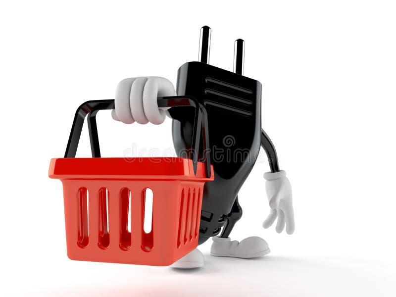 Elektrycznej prymki charakteru mienia zakupy pusty kosz ilustracja wektor