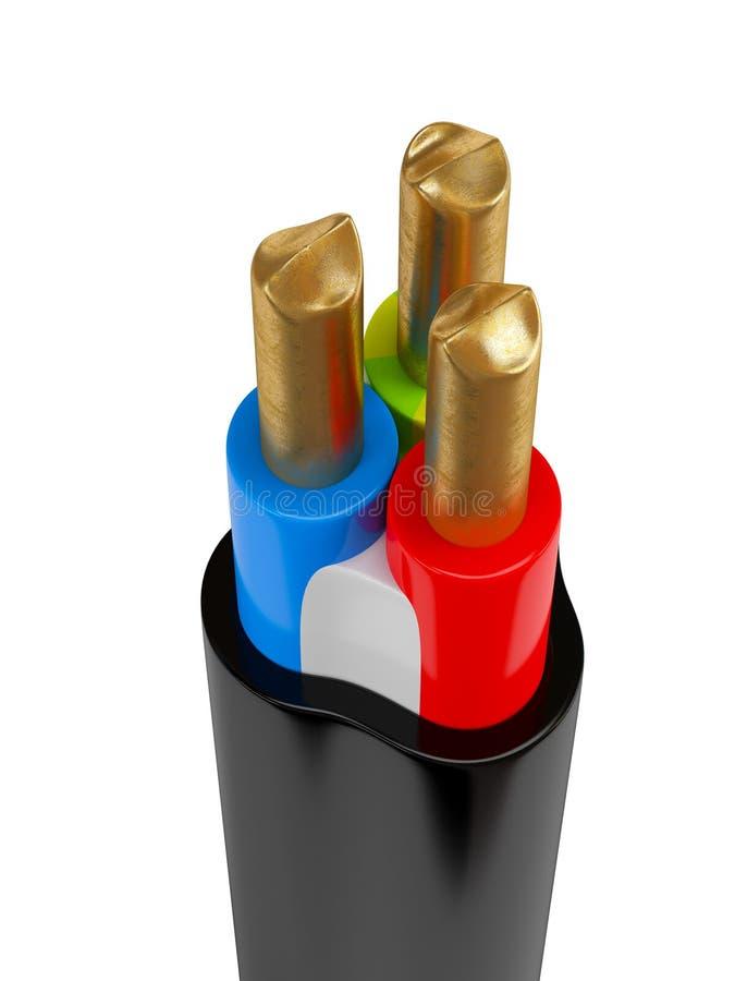 Elektrycznej władzy kabel z nagimi drutami fotografia royalty free