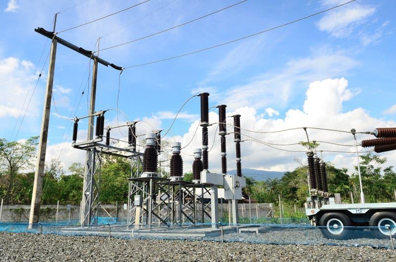 Elektrycznej władzy transformator w podstaci zdjęcie royalty free