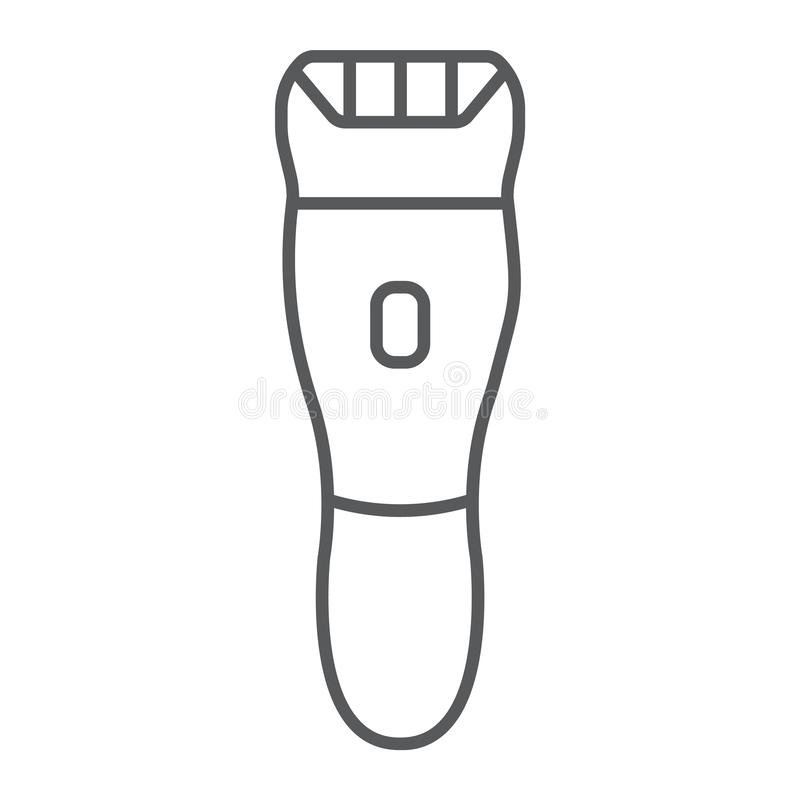Elektrycznej wiórkarki cienka kreskowa ikona, fryzjer męski i fryzura, hairclipper znak, wektorowe grafika, liniowy wzór na bielu ilustracja wektor
