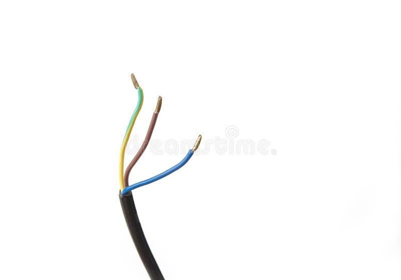 Elektryczni druty izolujący dla włącznika na białym tle obraz royalty free