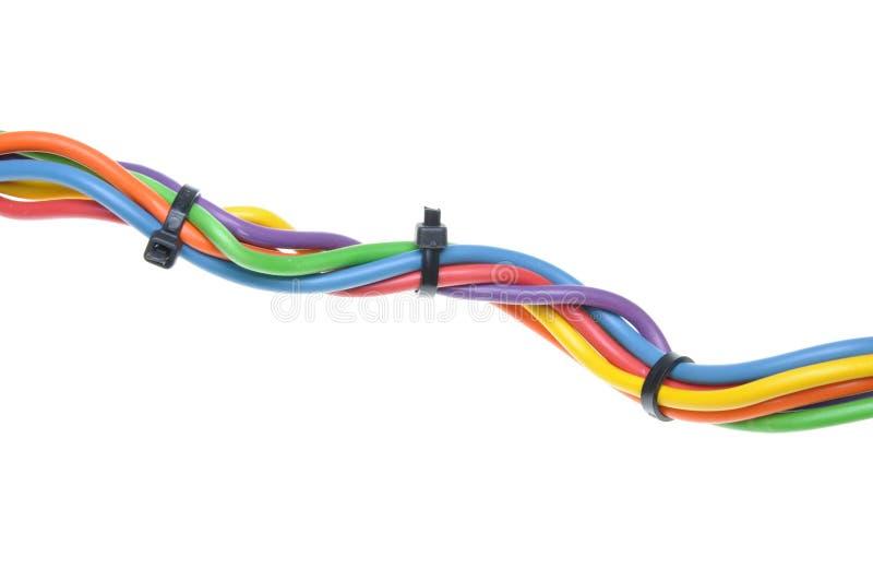 Elektryczni druty z kablowymi krawatami zdjęcie royalty free
