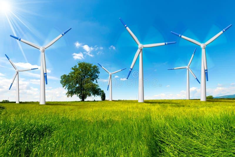 Elektryczni Wiatrowi generatory w wsi ilustracji