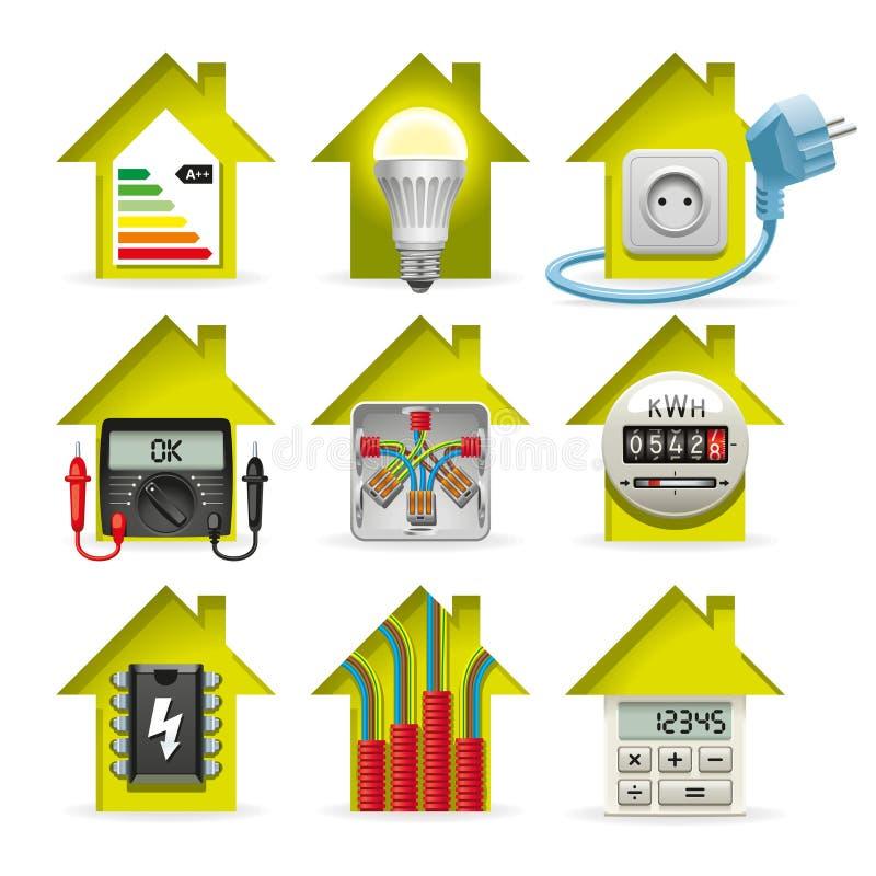 Elektryczność Domowe ikony ilustracja wektor