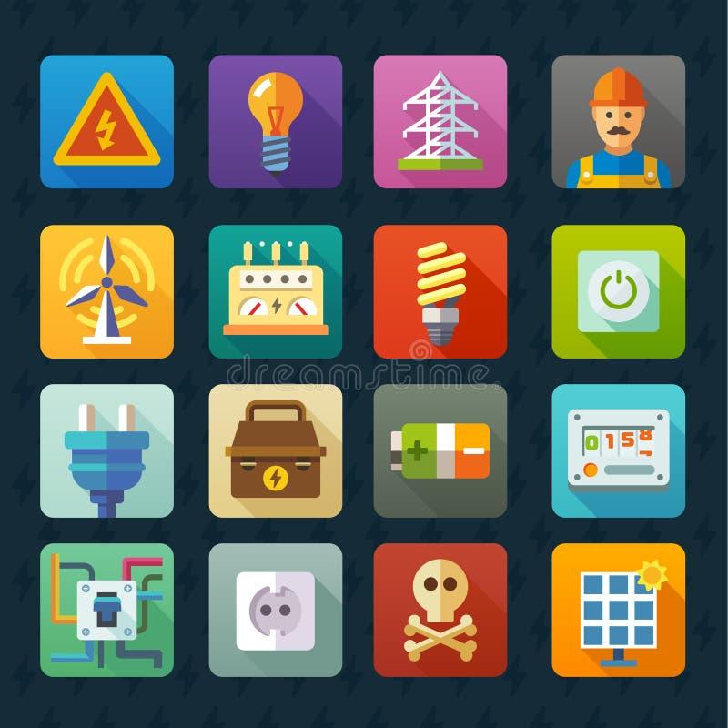Elektryczność i światło Wektorowy płaski ikona set royalty ilustracja