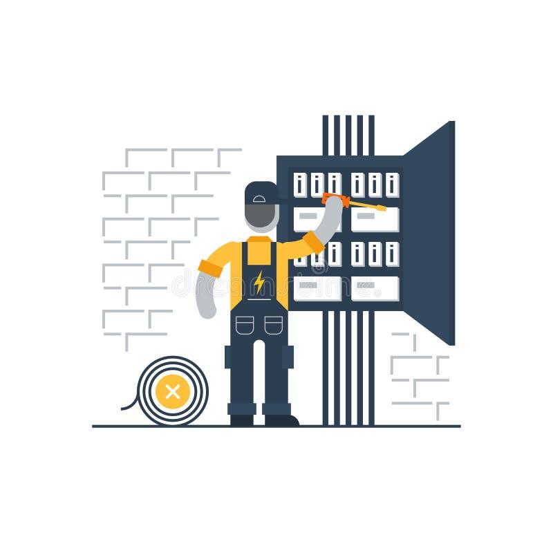 Elektryczność i połączenie z internetem ilustracja wektor