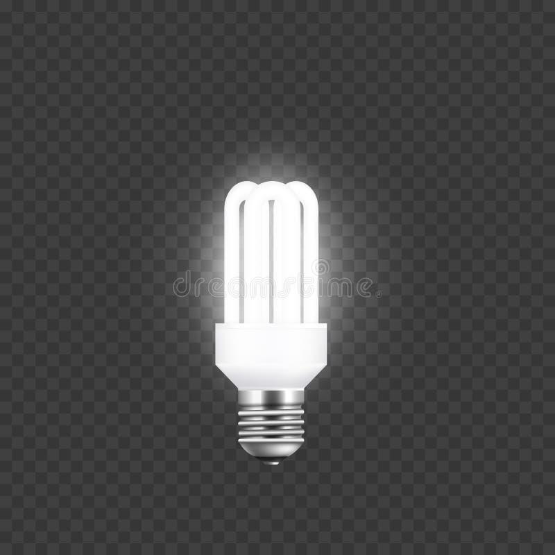 Elektryczność i przerzedże tubki lampę zaświeca w górę i błyszczy na przejrzystym tle ilustracja wektor