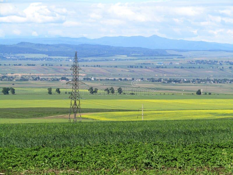 Elektryczność pilon w rolniczym krajobrazie zdjęcie stock