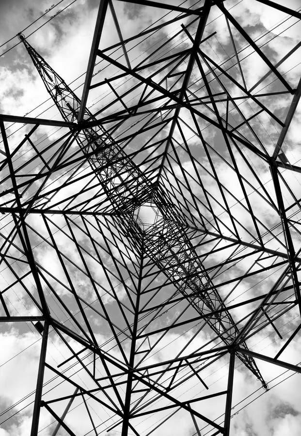 Elektryczność pilonu wierza szczegóły, źródło energii obraz royalty free