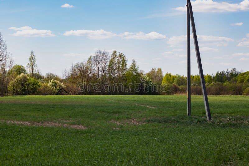 Elektryczność słup w zielonym wiosny polu, błękitny chmurny niebo zdjęcia royalty free