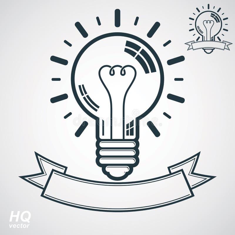 Elektryczności żarówki symbol, wglądu emblemat Wektorowa móżdżkowej burzy konceptualna ikona - korporacyjny problemowy rozwiązani ilustracji