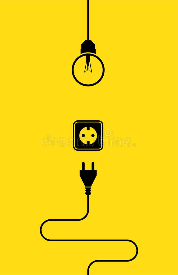Elektryczności ikony mieszkanie ilustracja wektor