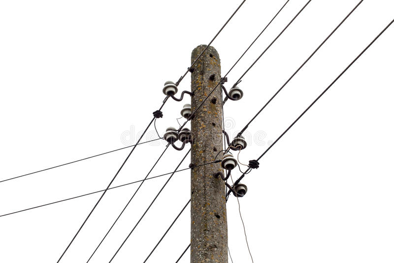 Elektryczności poczta z drucianymi liniami. Władzy elektryczna dystrybucja zdjęcie royalty free