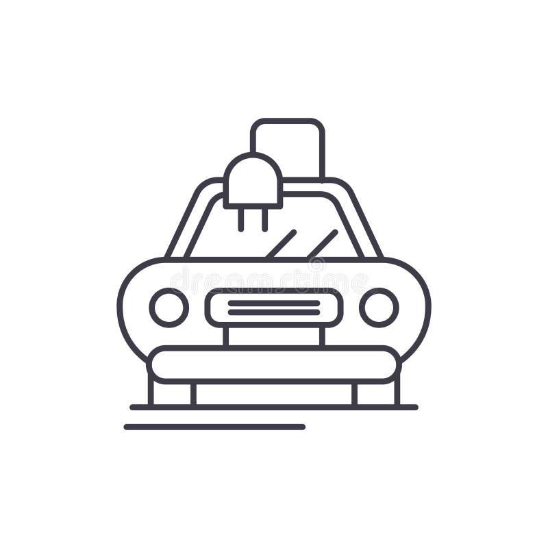Elektryczny automatyczny samochód linii ikony pojęcie Elektryczna automatyczna samochodowa wektorowa liniowa ilustracja, symbol,  royalty ilustracja