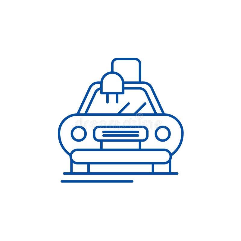 Elektryczny automatyczny samochód linii ikony pojęcie Elektryczny automatyczny samochodowy płaski wektorowy symbol, znak, kontur  ilustracji