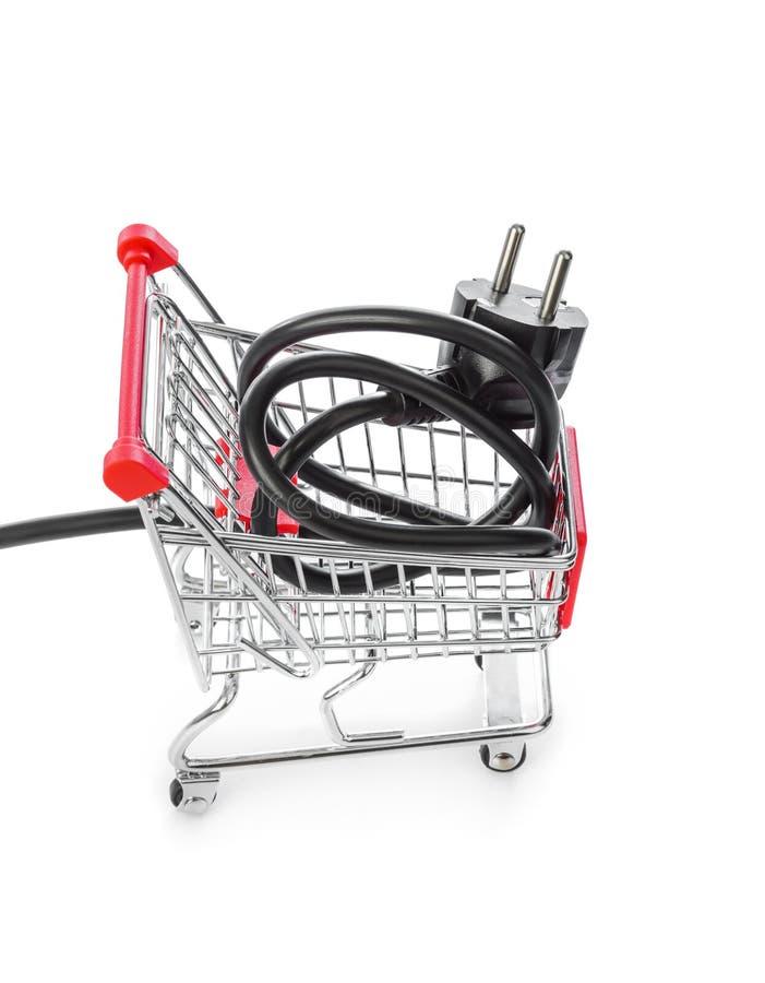 Elektryczny czopuje wewnątrz wózek na zakupy obrazy stock