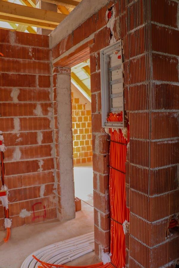 Elektryczny instalacja system w domu obraz stock