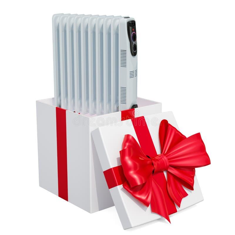 Elektryczny nafciany nagrzewacz, wypełniający grzejnik wśrodku prezenta pudełka 3D rendering odizolowywający na białym tle ilustracji