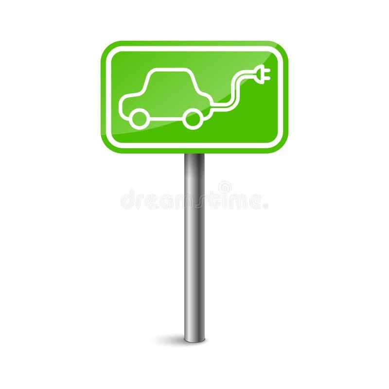 Elektryczny pojazdu znaka ładunku staci punkt również zwrócić corel ilustracji wektora zdjęcia stock