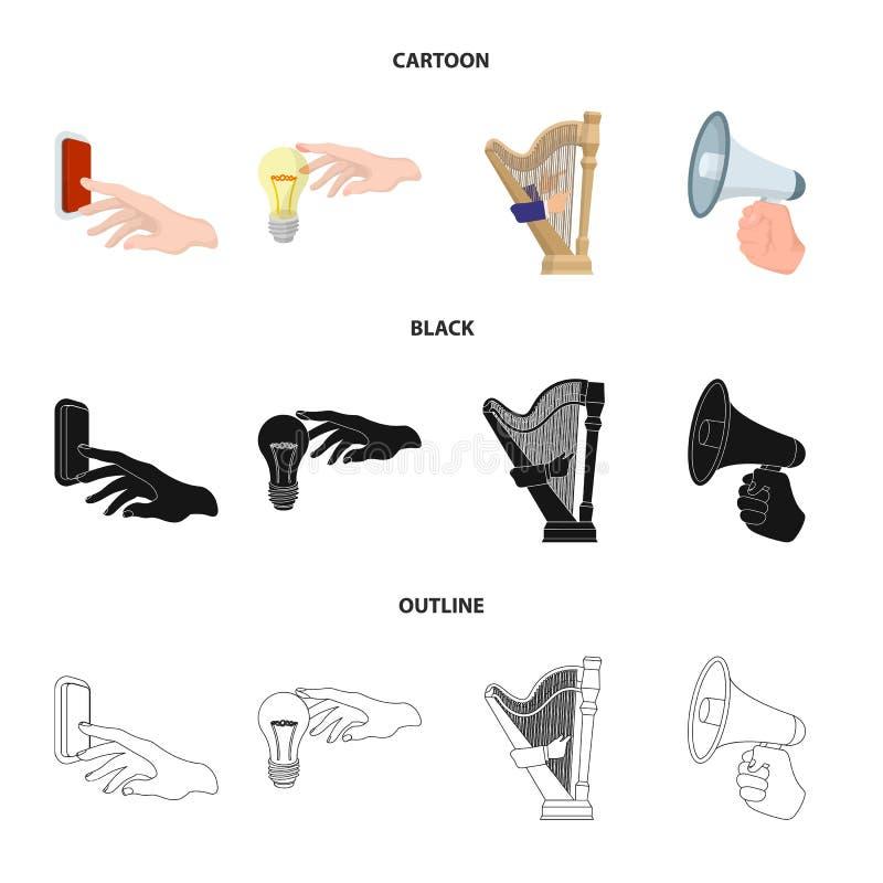Elektryczny przełącznikowy guzik, płonąca lampa i inna sieci ikona w kreskówce, czerń, konturu styl harfa bawić się, megafon wewn ilustracji