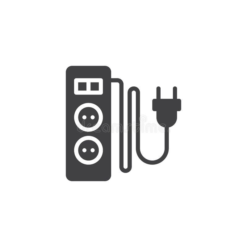 Elektryczny rozszerzenie sznur z dwa szczelin ikony wektorem royalty ilustracja