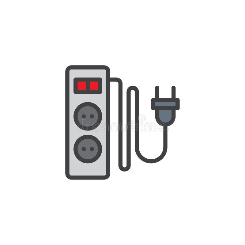 Elektryczny rozszerzenie sznur z dwa szczelinami wypełniać zarysowywa ikonę ilustracji