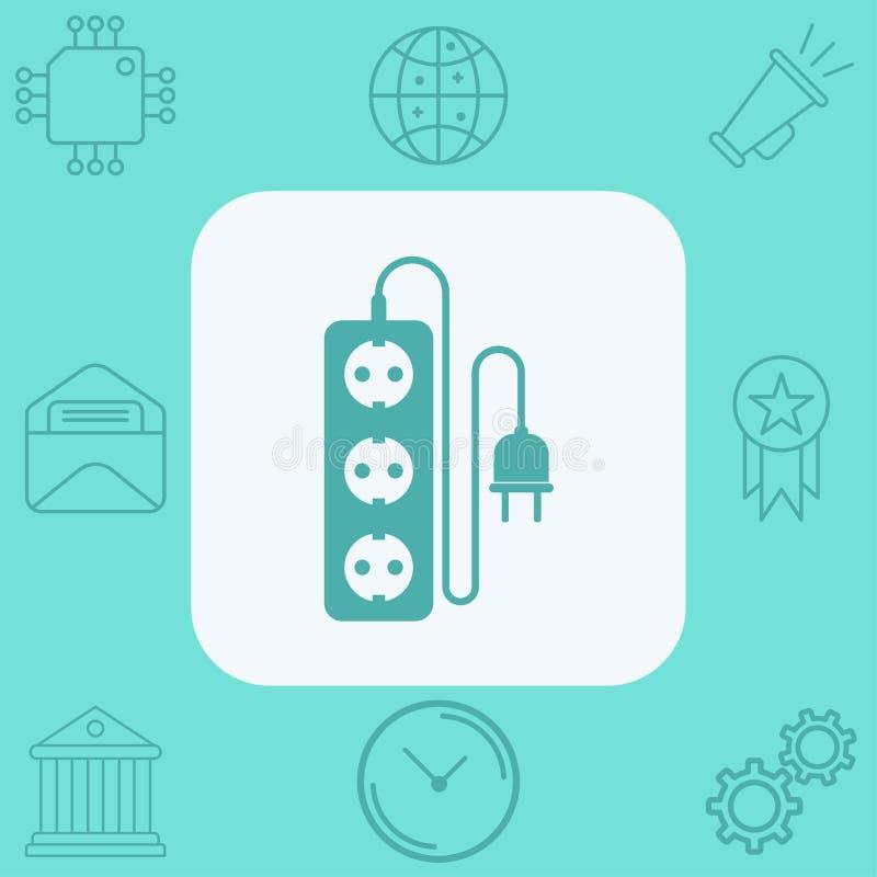 Elektryczny rozszerzenie sznura ikony znaka wektorowy symbol ilustracji