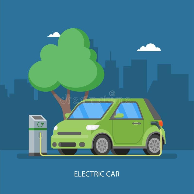 Elektryczny samochód ładuje przy ładowarki stacją Wektorowa ilustracja w mieszkanie stylu ilustracji