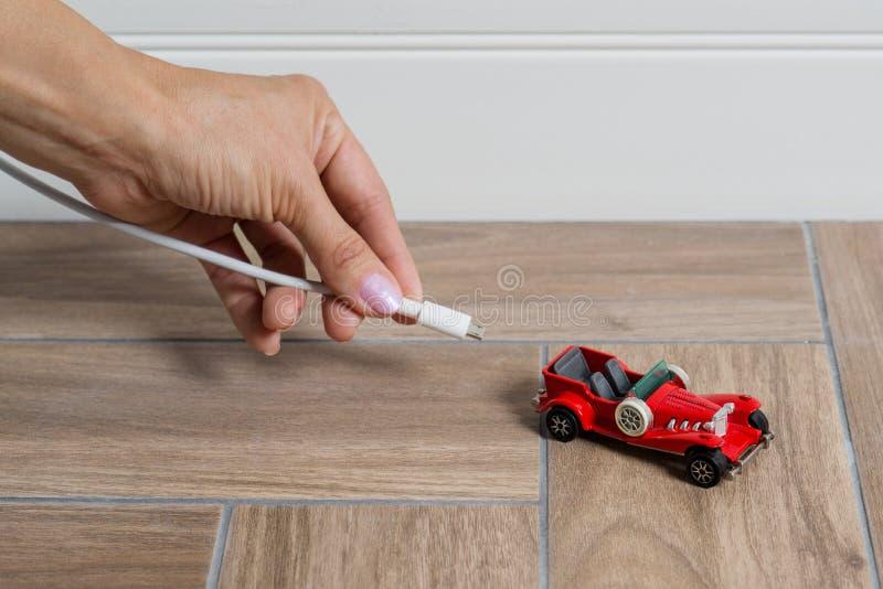 Elektryczny samochód czopuje - EV przewieziony pojęcie obraz stock