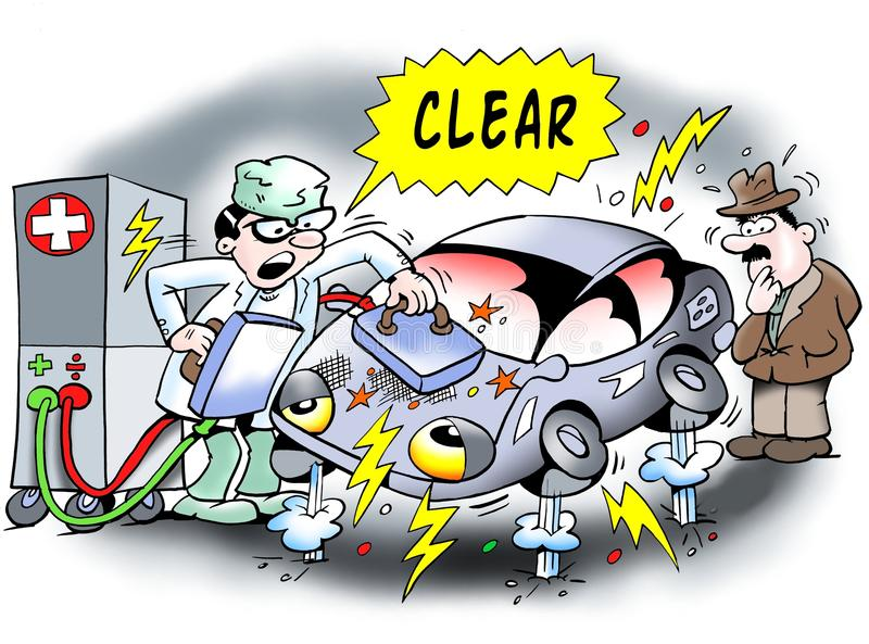 Elektryczny samochód dostaje wznawiającym ilustracja wektor