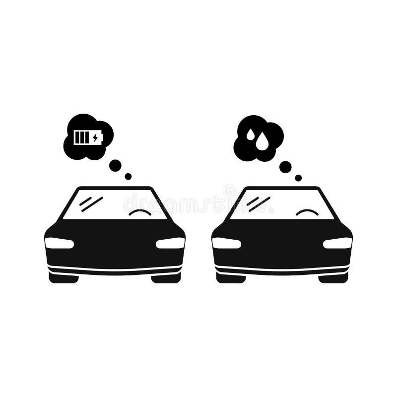 elektryczny samochód i benzyna samochód Wektorowa ikona odizolowywająca na bielu ilustracji