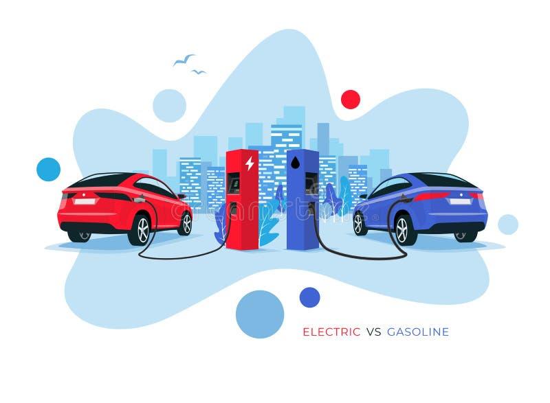 Elektryczny samochód Versus benzyna kształta stylu Samochodowa Nowożytna Rzadkopłynna ilustracja royalty ilustracja
