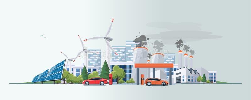 Elektryczny samochód versus skamieniałego paliwa energetyczny źródło ilustracja wektor
