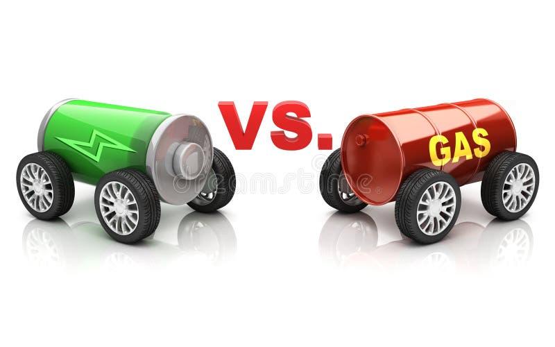 Elektryczny samochód vs. benzynowy samochód ilustracji