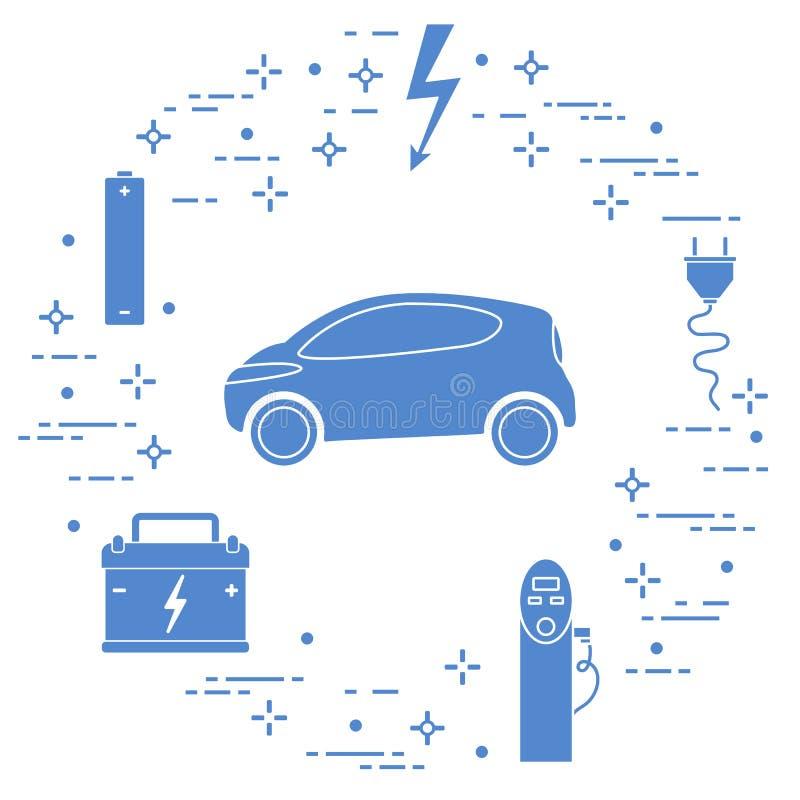 Elektryczny samoch?d, bateria, ?aduje stacja, elektryczny zbawczy znak, kabel, elektryczna prymka Nowe przewiezione eco technolog ilustracja wektor