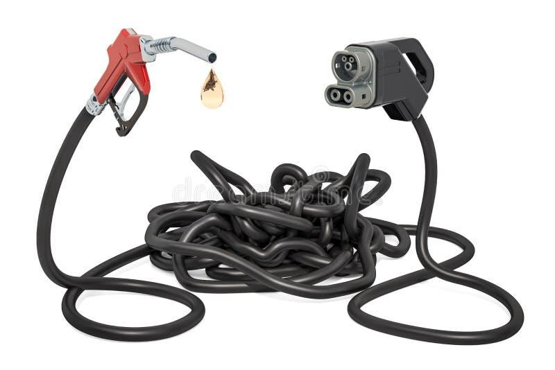 Elektryczny samochodu ładować lub ponaftowy pojęcie świadczenia 3 d ilustracja wektor