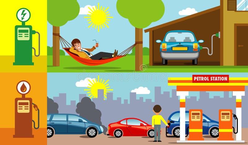 Elektryczny versus benzyna samochodu ilustracje ilustracji