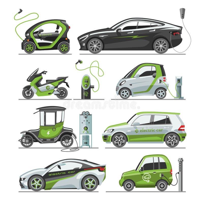 Elektryczny wektorowy samochód z panelu słonecznego eco electro transportu ilustracyjnego samochodu gniazdkową elektryczną samoch royalty ilustracja