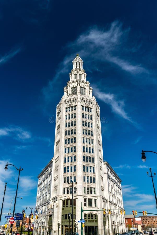 Elektryczny wierza, historyczny budynek biurowy w bizonie, NY, usa Budujący w 1912 fotografia royalty free