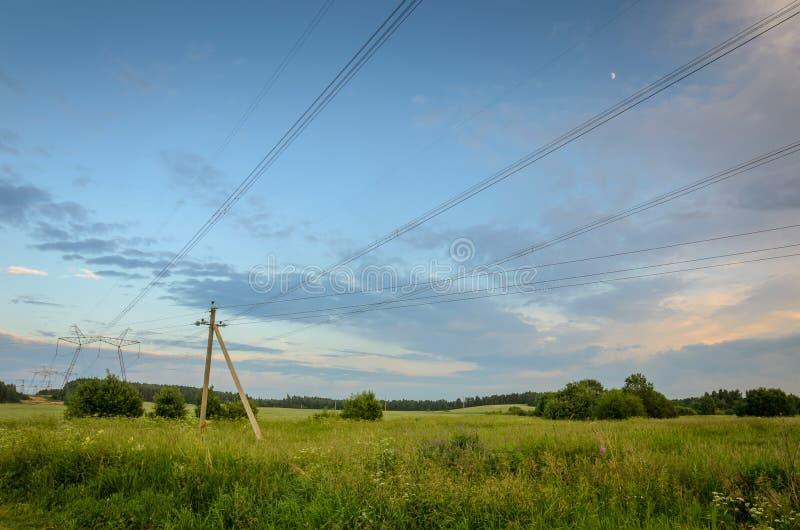 Elektryczny wysoki woltażu wierza, słupy linie energetyczne w lasowej strefie pod niebieskim niebem/ fotografia royalty free