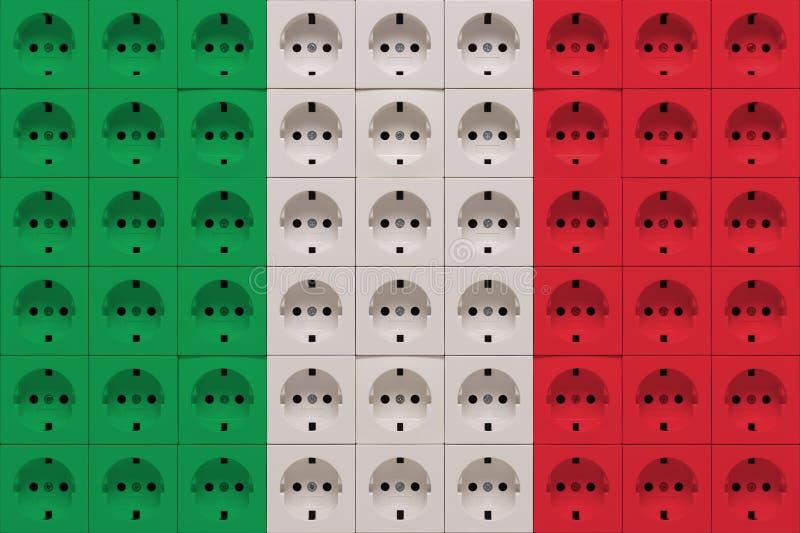 Elektrycznych ujść gniazdkowy grzech kolory flaga Włochy zdjęcia royalty free