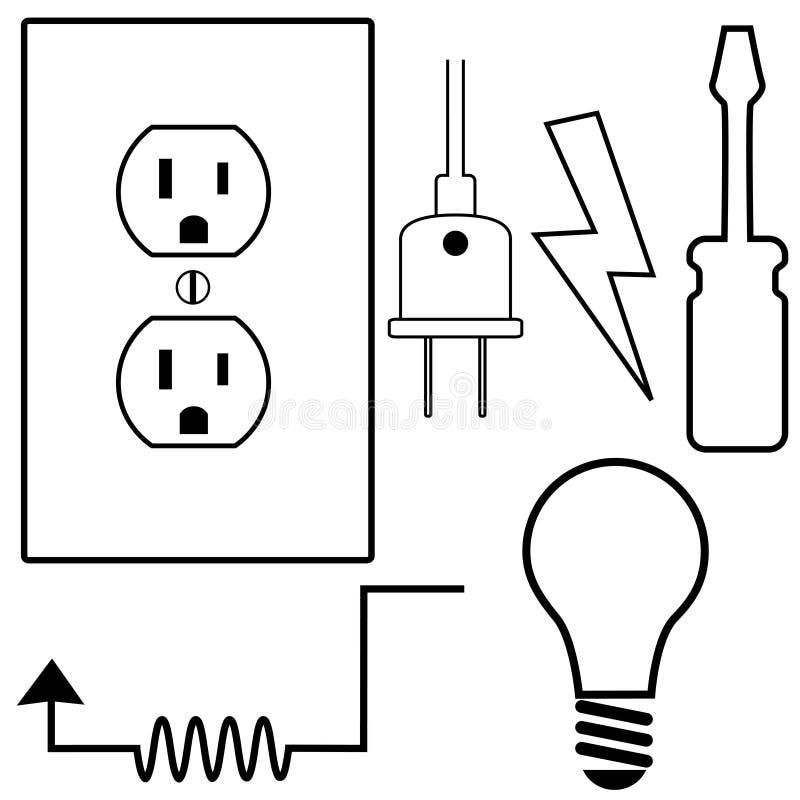 elektryk elektryczne ikony naprawiają ustalonego symbol ilustracja wektor