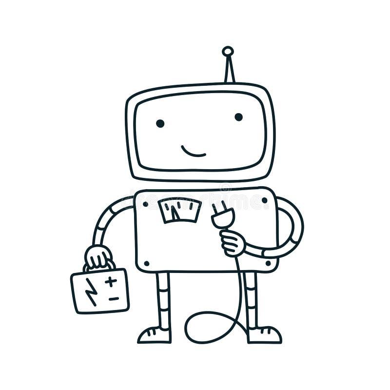 Elektryk robota, elektryczność Bateria Naprawa Robot Nie znaleziono strony — błąd 404 Linia wektorowa szkicu narysowanego ręcznie ilustracja wektor