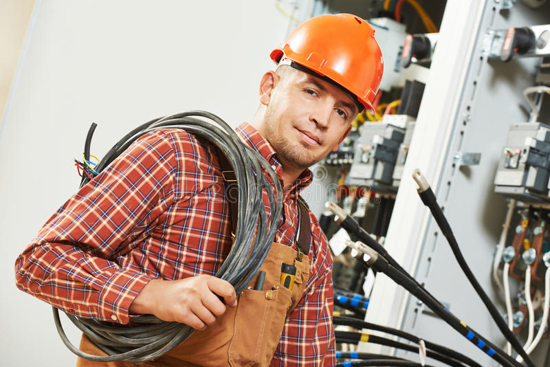 Elektryka inżyniera pracownik zdjęcia stock