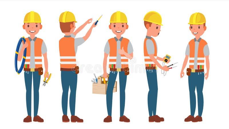 Elektryka wektor Różne pozy Pracujący proces Płaska kreskówki ilustracja ilustracji