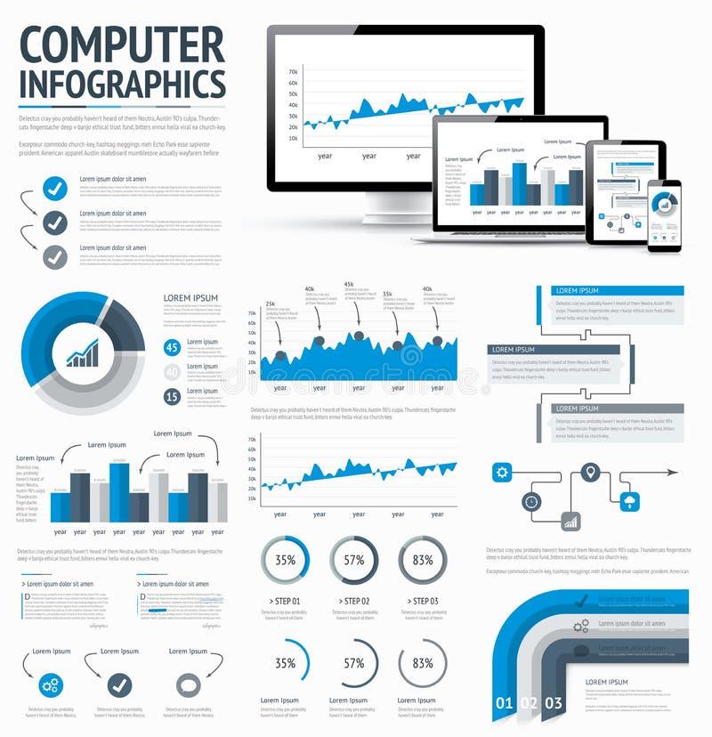 Elem infographic de statistiques de technologie de l'information illustration de vecteur
