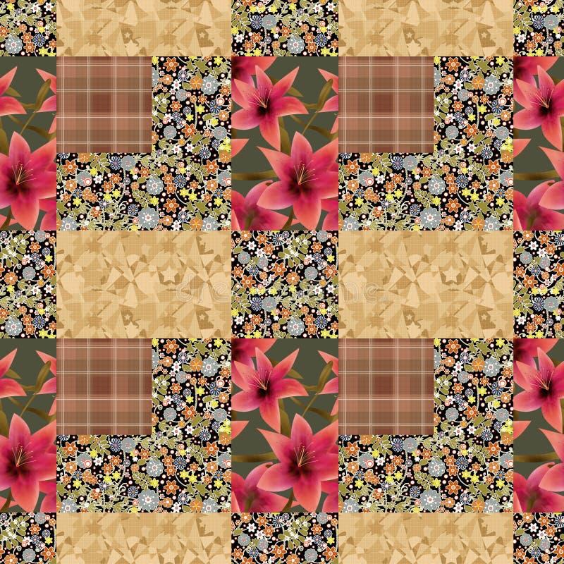 Eleme floral sans couture de fond de texture de modèle de patchwork lilly illustration libre de droits