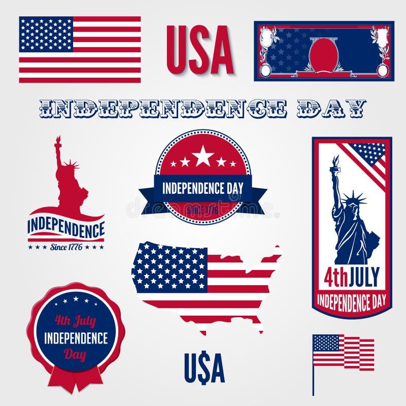 Elemen del modello di progettazione di vettore di festa dell'indipendenza di U.S.A. illustrazione di stock