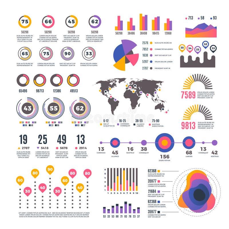 Elemens infographic del vector de la presentación moderna de la estrategia empresarial Cartas del gráfico y de la tarifa de barra ilustración del vector